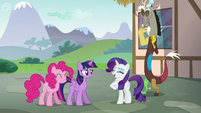 Rarity giggling as she speaks S5E22