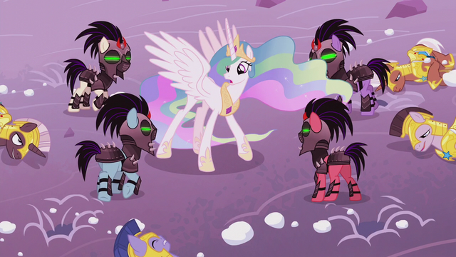 File:Crystal Ponies ambush Celestia from under the snow S5E25.png