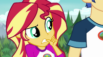 Sunset Shimmer uneasily biting her thumb EG4
