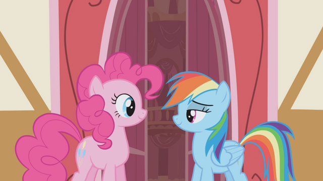 File:Pinkie and Rainbow smiling S1E05.png