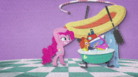 Pinkie puts a rubber raft on the pile of toys BFHHS2