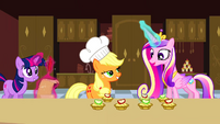 Princess Cadance and Applejack with apple fritters S2E26