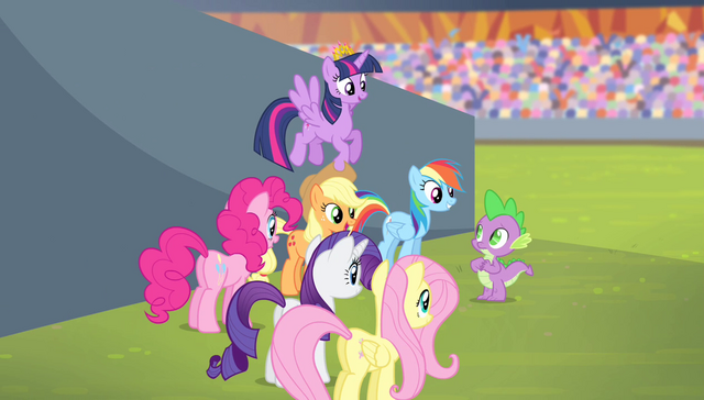 File:Mane 6 commending Spike S4E24.png