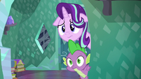 Starlight Glimmer and Spike looking at Sunburst S6E2