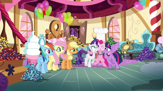 File:Pinkie Pie hugging Rarity and Twilight S4E18.png