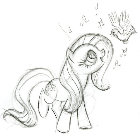 File:Fluttershy Singing to Birds Sketch.jpg