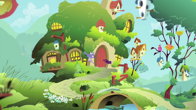 File:Birds flying to Fluttershy's cottage S4E14.png