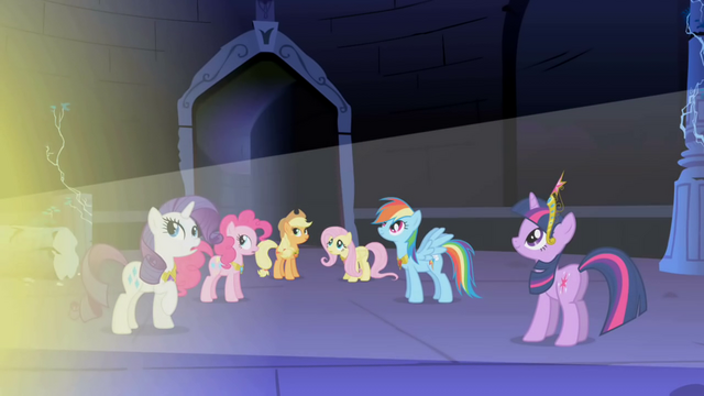 File:Main 6 ponies looking at Celestia's light S1E2.png