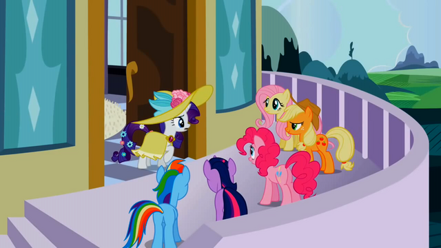 File:Surprised Rarity and main 5 ponies S02E09.png