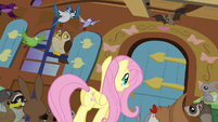Fluttershy approaching door S4E01