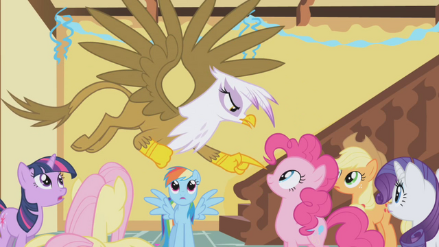 File:Gilda pointing at Pinkie S1E5.png