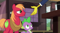 Discord gestures toward Spike and Big Mac S6E17