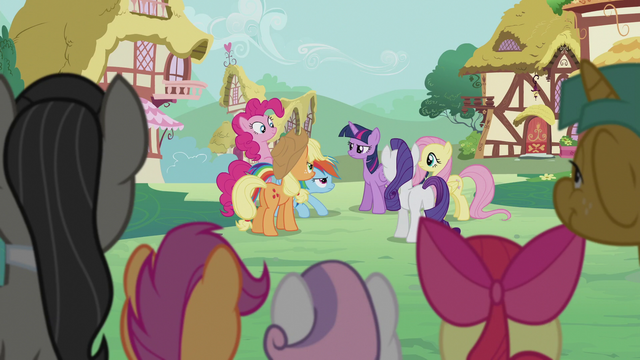 File:Mane Six chatting in the background S5E9.png