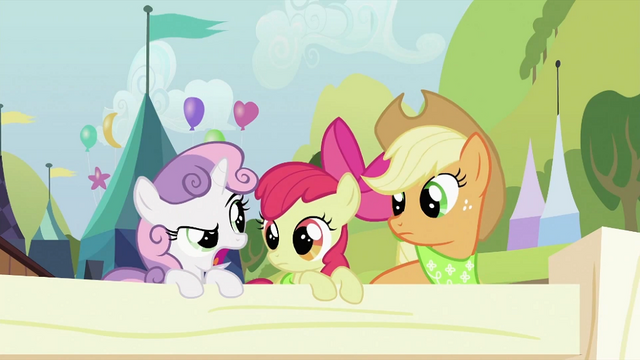 File:Applejack and Apple Bloom looking at Sweetie Belle S2E05.png