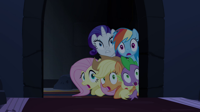 File:Main ponies and Spike scared S4E03.png
