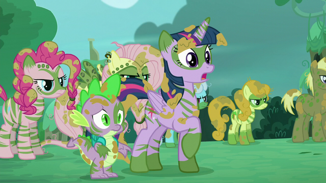 File:Twilight, Spike, and other ponies see 'Rainbow', 'Rarity', and 'Applejack' S5E26.png