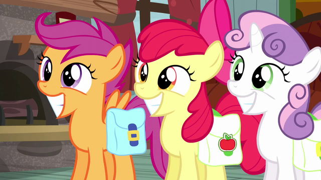 File:Cutie Mark Crusaders grinning innocently S5E6.png