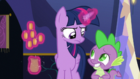 Twilight annoyed; Spike embarrassed S6E15