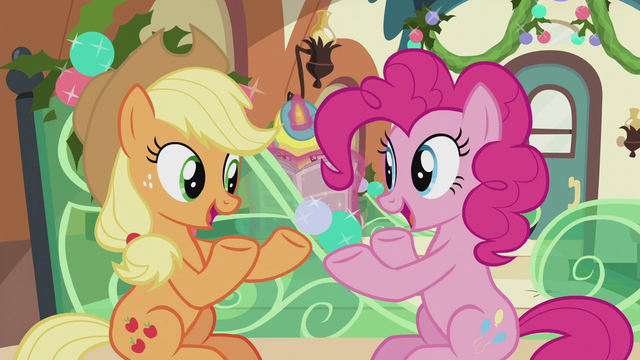 File:Applejack and Pinkie speak at the same time S5E20.png