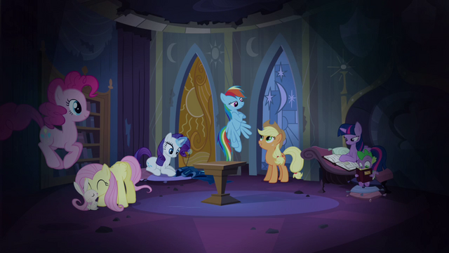File:Main cast in Celestia's reading room S4E03.png