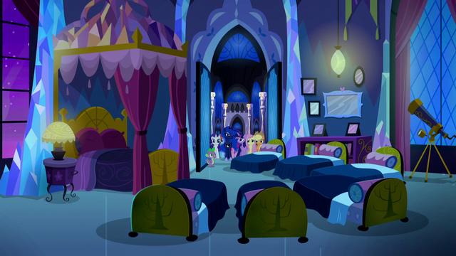 File:Mane Six, Luna, and Spike enter Twilight's bedroom S5E13.png