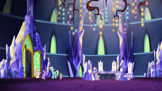 File:Twilight, Fluttershy, Spike, and Zephyr in the wide throne room S6E11.png