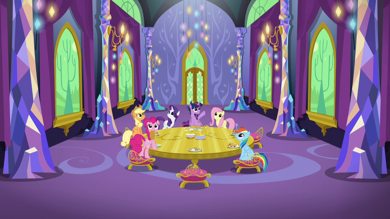 image - mane six in castle dining room zoom-out s5e3 | my