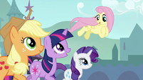 Twilight, Applejack and Rarity trotting with Fluttershy 2 S3E2