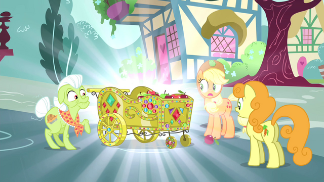 File:Applejack, Granny and Golden Harvest sees a beautified apple cart S4E23.png