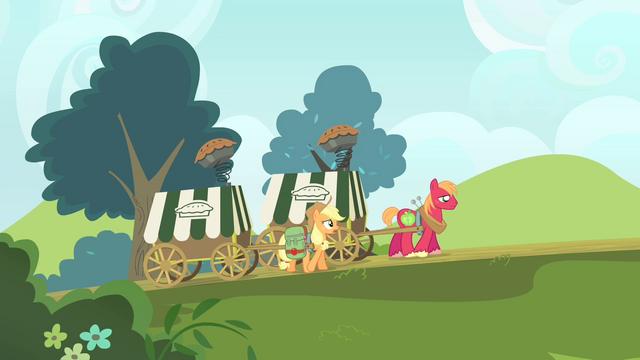 File:Applejack and Big Mac pulling the carts S4E17.png