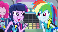 Twilight and Rainbow look at each other EG2