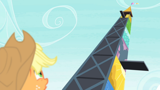 File:Applejack looking at high diving tower S4E20.png