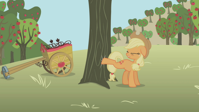 File:Applejack trying to buck apples S1E04.png