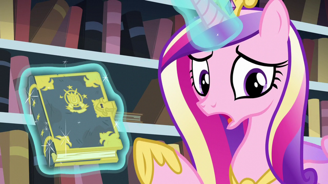 File:Cadance points at the tome while showing it to Twilight S6E2.png