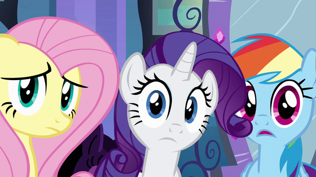 File:Fluttershy, Rarity and Rainbow Dash listening EG.png