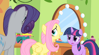 Fluttershy cornered by Rarity and Twilight S01E20