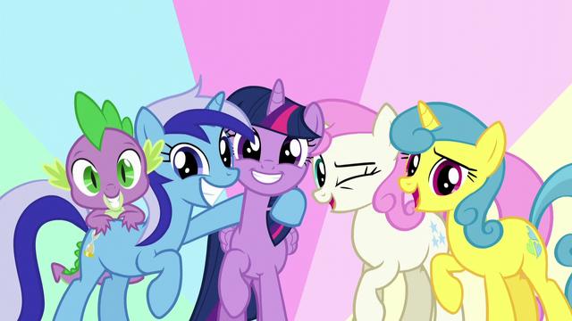 File:Twilight, Spike, Minuette, Twinkleshine, and Lemon Hearts together S5E12.png