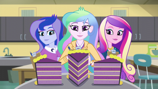 File:Celestia, Luna, and Cadance are offered cake EG3.png