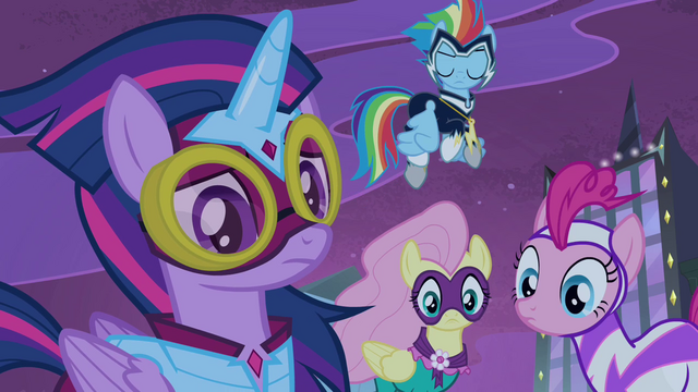 File:Power Ponies listening to Spike S4E06.png