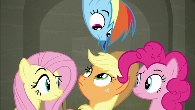 File:Fluttershy, Dash, AJ, and Pinkie exchange confused glances S6E9.png