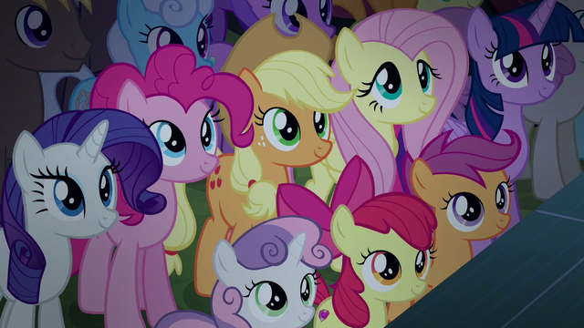 File:Applejack and friends listen to Rara's speech S5E24.png
