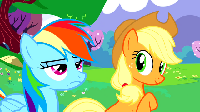File:Applejack is impressed, Rainbow Dash is not S02E25.png