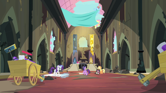 File:Mane 6 cleaning up the old castle S4E06.png