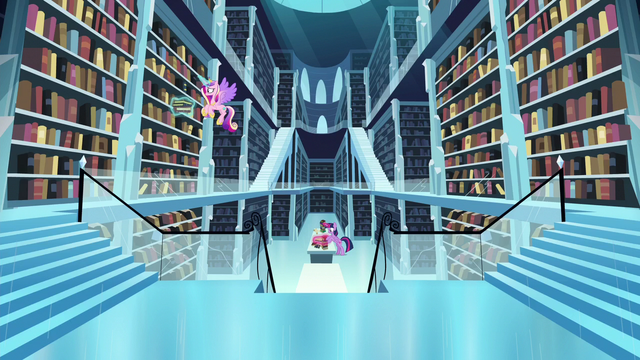 File:Cadance searching for books; Twilight reads the books to find the spell S6E2.png