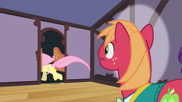 File:Fluttershy runs out of Sugarcube Corner S4E14.png
