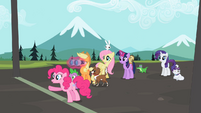 Ponies waiting at finish line with Pinkie pointing S2E7
