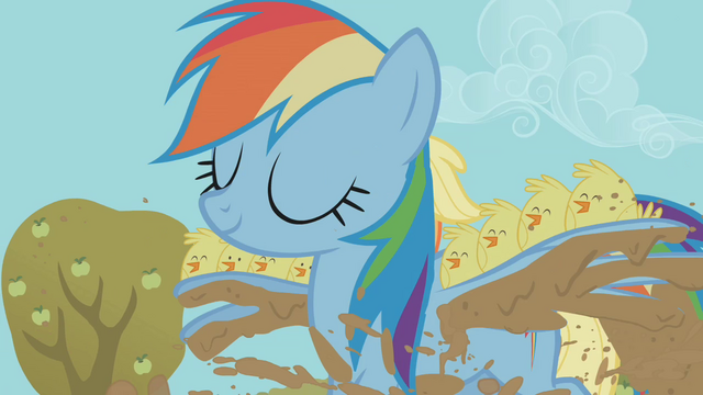 Datei:Rainbow Dash carrying baby chicks over the mud-filled trench S01E13.png