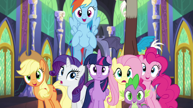 File:Mane 6 and Spike in happy surprise S4E26.png