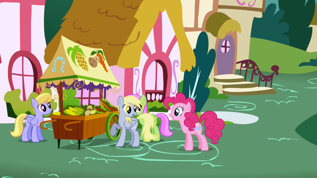 File:Pinkie Pie questioning Derpy as to Rainbow Dash's whereabouts S1E5.png