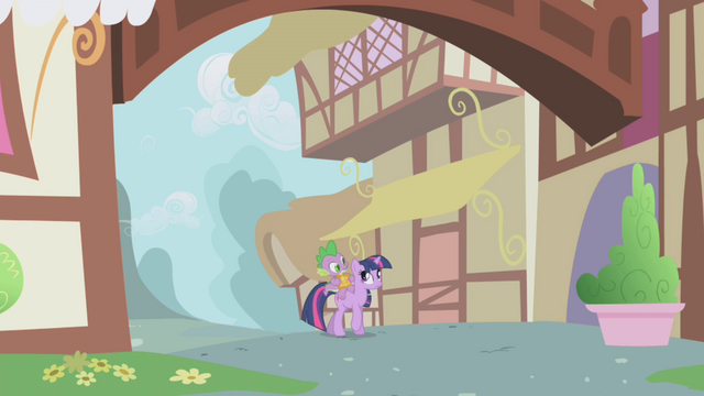 File:Twilight and Spike walking into town S1E03.png
